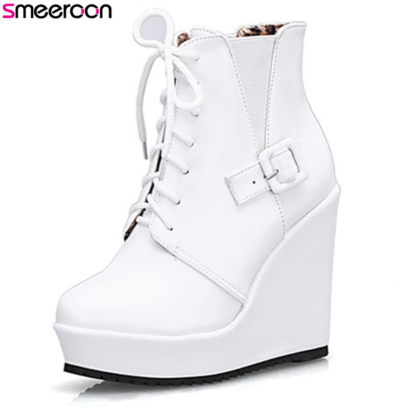 Smeeroon new platform shoes round toe ankle boots super high heels autumn winter boots for women zip+cross tied women boots стоимость