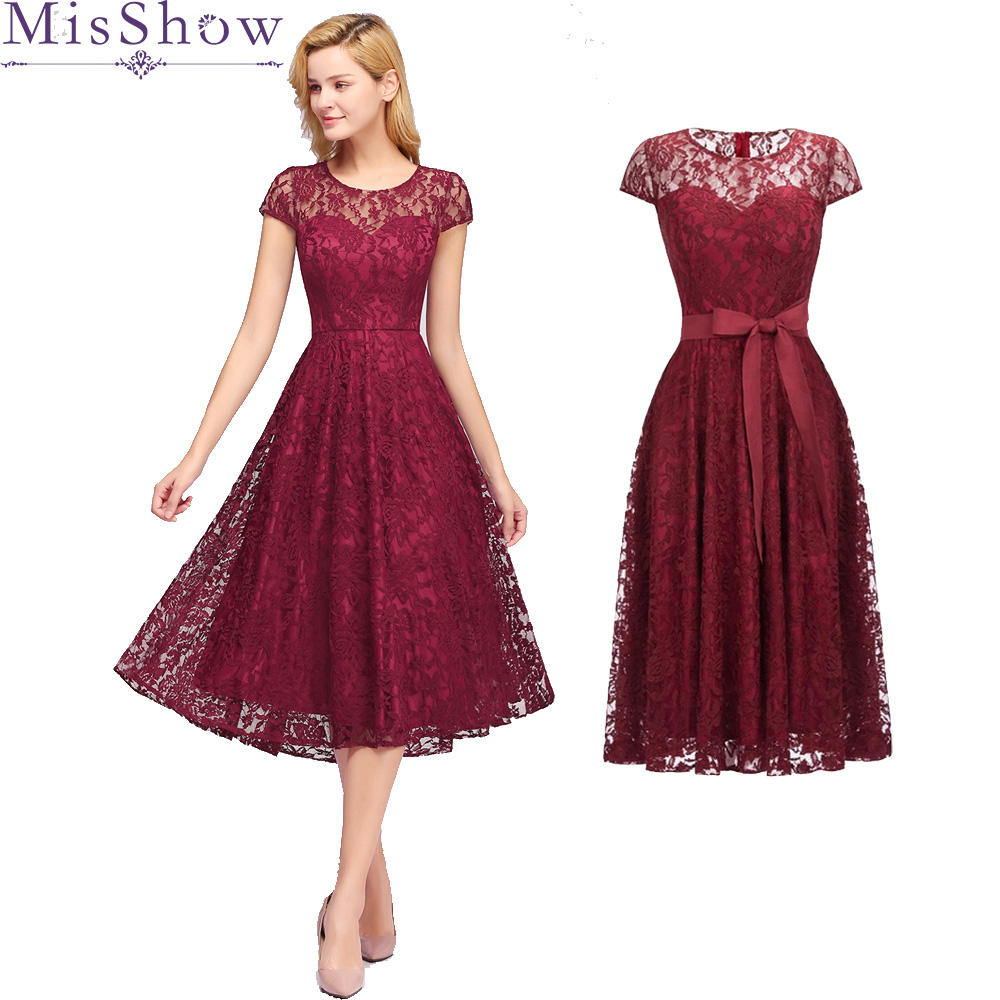 New Arrival   Cocktail     Dresses   Women's Cheap A-line burgundy Lace Short Sleeve Cut-out Plus Size Modest Party Homecoming   Dresses