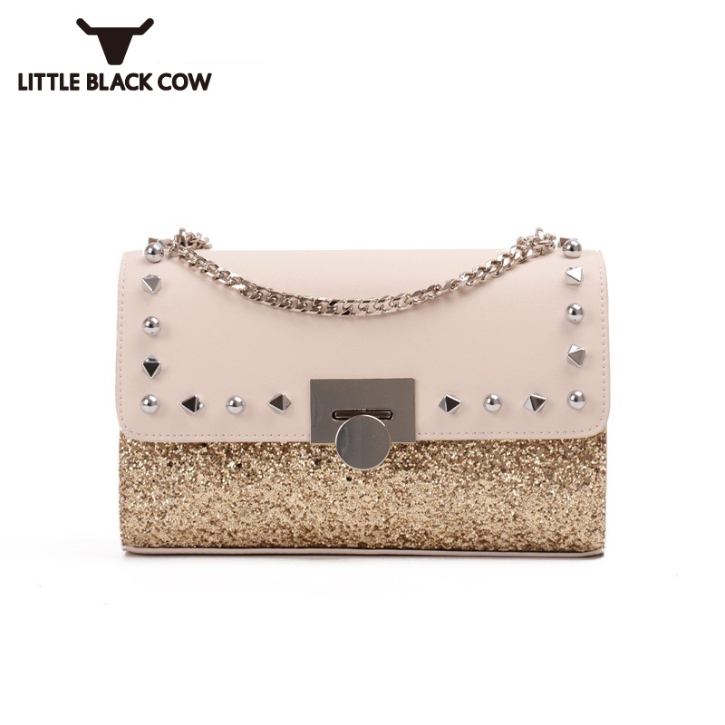Brand Leather Luxury Womens Handbag 2018 New Rivet Sequins Shoulder Bag Flap Crossbody Bags Female Fashion Satchels Small Bag 2017 in special casual offer flap pocket single zipper the autumn of new small european color rivet bag bags handbag shoulder