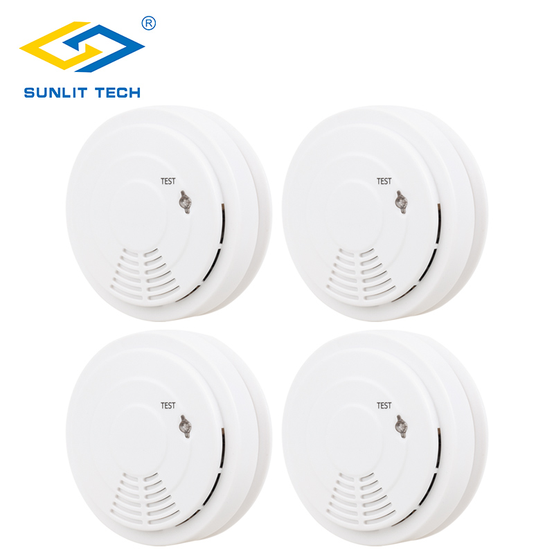 4pcs/lot High Sensitivity Smoke Detector Wireless Fire Alarm Sensor For 433MHz Home Burglar WIFI GSM WIFI Alarm Security System ...