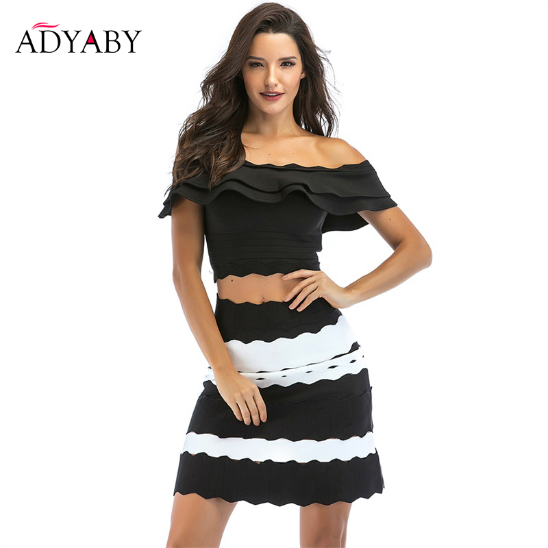 High Waist Skirts Womens 2019 Summer New Arrivals Fashion Black and Whte Striped Skirt Ladies Celebrity