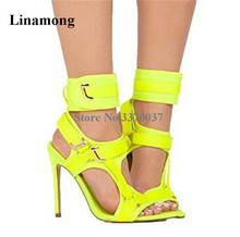Brand Design Women Fashion Open Pointed Toe Suede Leather Stiletto Heel Gladiator Sandals Ankle Wrap Buckles High Heel Sandals trendy iridescent color and stiletto heel design sandals for women