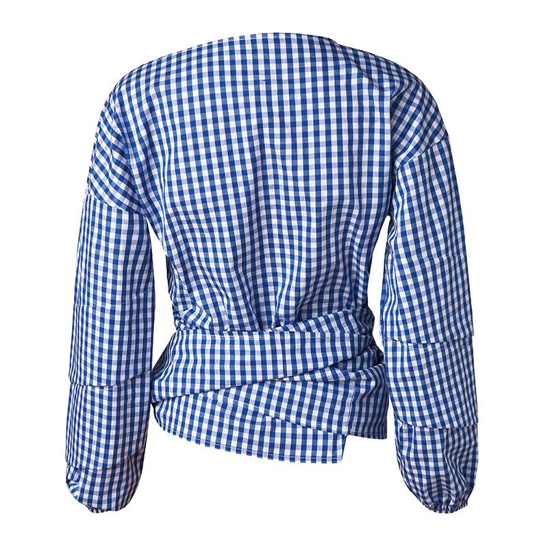 HTB1Jp5hPVXXXXc9XFXXq6xXFXXXx - V-Neck Lantern Sleeve Blue Women Blouses Shirts JKP160