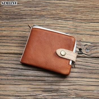 100% Genuine Leather Wallet For Men Male Designer Short Vintage Handmade Wallets Purse With Card Holder Coin Pocket High Quality