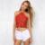 Elegante Marrón Mujeres Crop Top de Encaje de la Playa Del Verano Sin Espalda Corta gasa Halter Tops Camis Atractivo Metálico Sin Mangas de la Nueva Talla SL