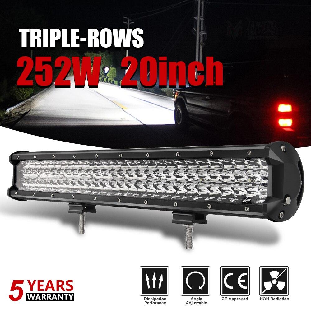 Со светом 7D 20 дюймов 252 Вт 3 ряда светодиодный свет бар пятно светодиодный лучи Offroad светодиодный свет работы 12 В 24 В для ATV внедорожник 4x4 4WD пр...