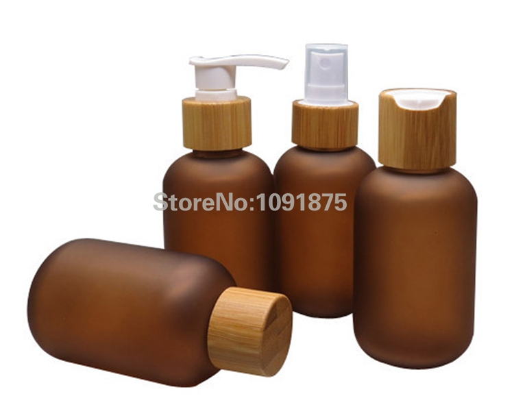 Free Shipping 120ml Brown Color Frosted PET Bottles With Bamboo Caps, Bamboo Sprayers For Commetic Package