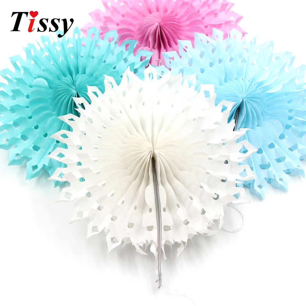 5PCS 8(20CM) Snowflake Tissue Hollow Paper Fans Pinweels Hanging Kids Birthday/Wedding Party Decoration Baby Shower Supplies