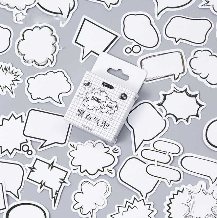 45 Pcs/pack Cute Black And white Bang Dialog Box Decorative Stickers Adhesive Stickers DIY Decoration Diary Stickers Box Package