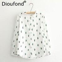 Dioufond Hot Sale Casual White Blouses Women Cotton Linen Ladies Tops Cactus Print Long Sleeve Chemise
