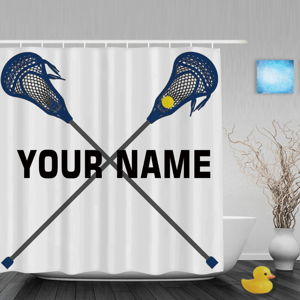 Sports shower curtains - Customized Lacrosse Name Sports Theme Shower Curtain Custom Text Bathroom Shower Curtains Polyester Fabric With Hooks