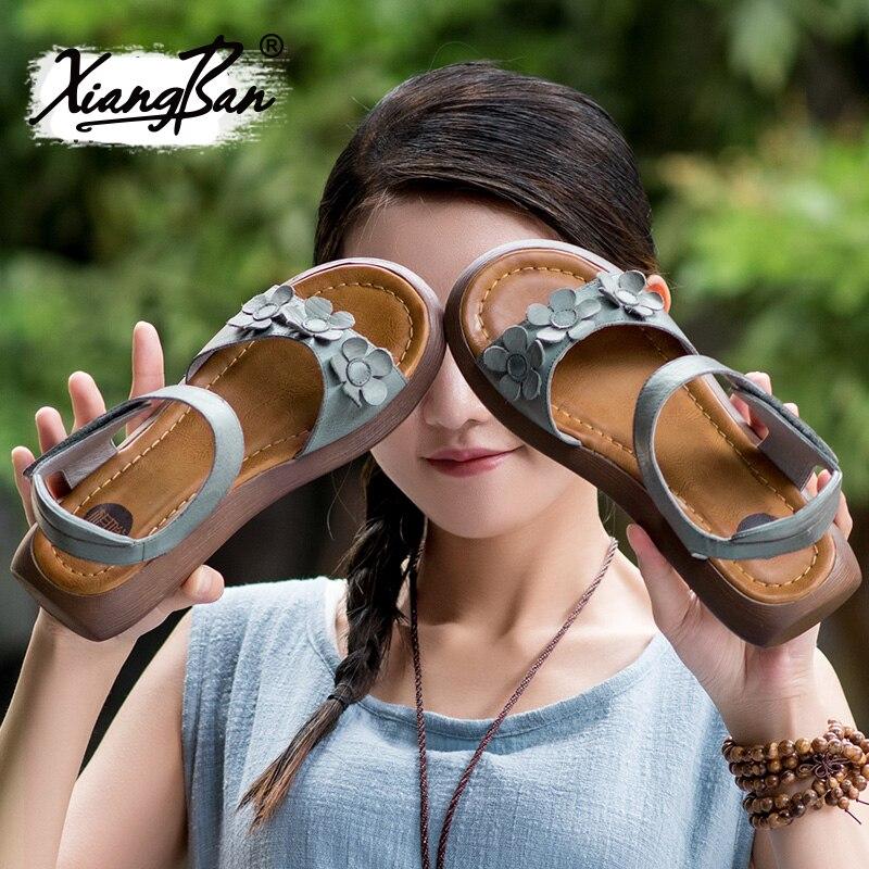 Xiangban Sommer Dicken Casual Sohlen Schuhe Spitze Leder 2019 Plattform Keil Damen Ferse Sandalen Grey Frauen Offene 6qFxfd