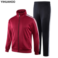 YIHUAHOO Tracksuit Men Winter Thick Warm Velvet Fur Jacket Clothing Set Two Piece Sweatpants Sportswear Track Suit KSV TZ090