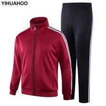 YIHUAHOO تراكسويت الرجال الشتاء سميكة الدافئة المخملية الفراء سترة الملابس مجموعة قطعتين Sweatpants رياضية المسار دعوى KSV TZ090
