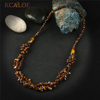 KCALOE Tiger Eye Stone Necklaces Irregular Semi Precious Stones Natural Crystal Necklace For Women Handmade Fine Jewelry Colar