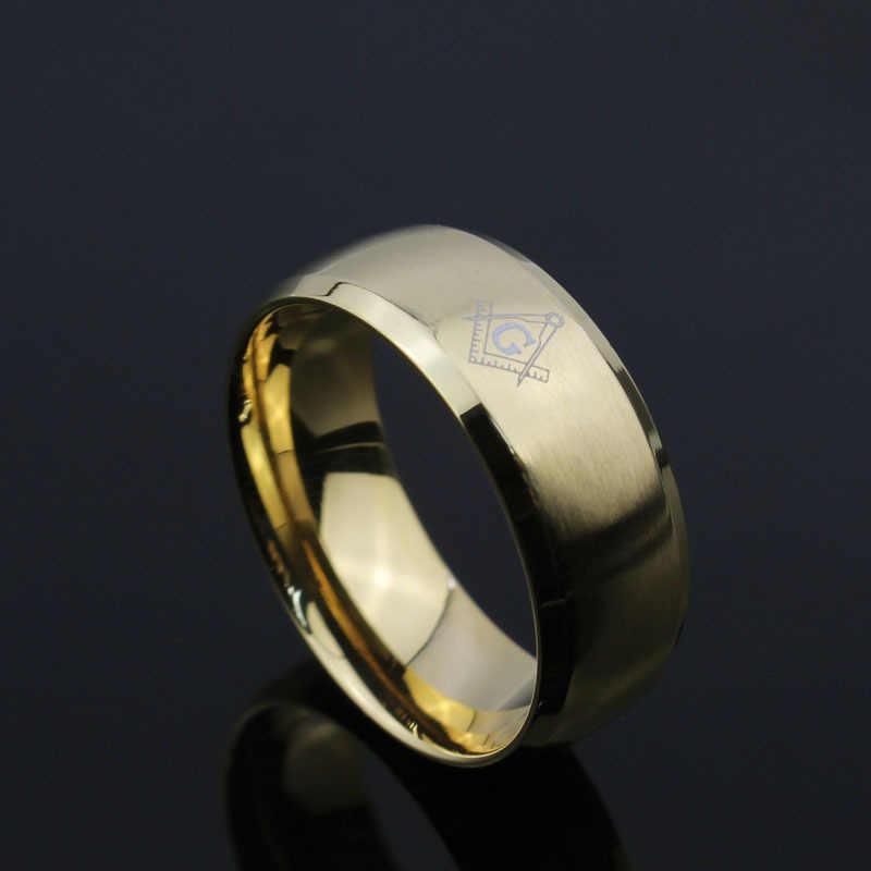 Homens frescos Anéis Maçônicos Anéis De Casamento Do Aço Inoxidável para Homens Jóias Anéis de Jóias Com 3 Cores De Fibra De Carbono Preto