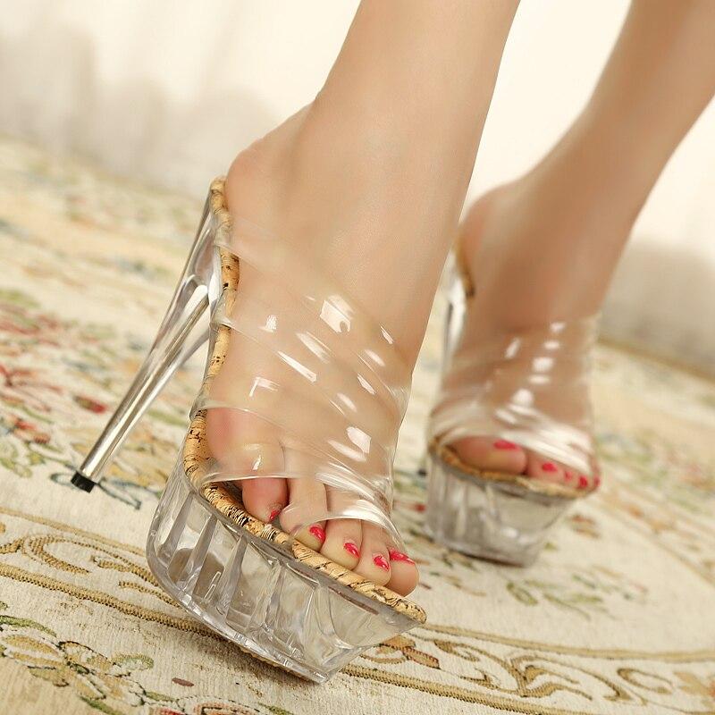 Envío libre 14 cm cristal tiras sandalias grandes Sandalias de tacón ...