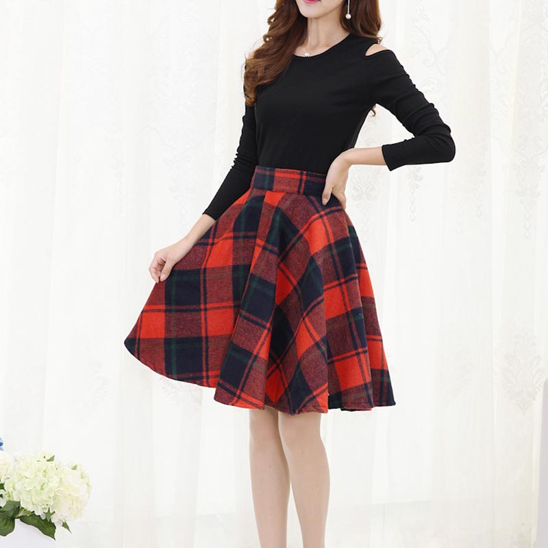 European American Winter Plaid Skirts Women Retro Paid Skirts Woolen Pleated Skirt High Waist Swing A