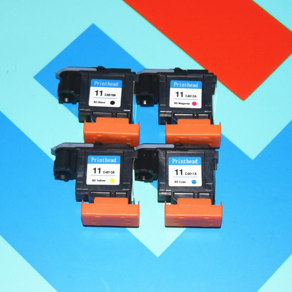 Free Shiping 1Set/4pcs. High quality for HP11 Printhead for hp500 510 800 C4810A C4811A C4812A C4813A