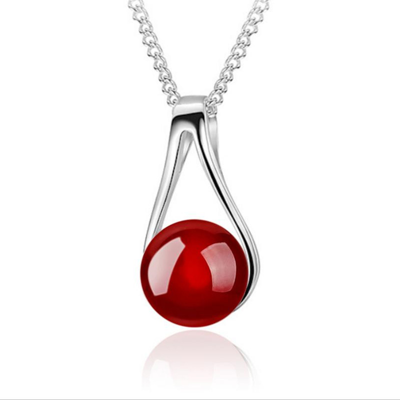 TJP Cute Red Pearl Female Pendants Necklace Jewelry Top Quality 925 Sterling Silver Choker Neckalce For Girl Lady Party Bijou in Pendant Necklaces from Jewelry Accessories