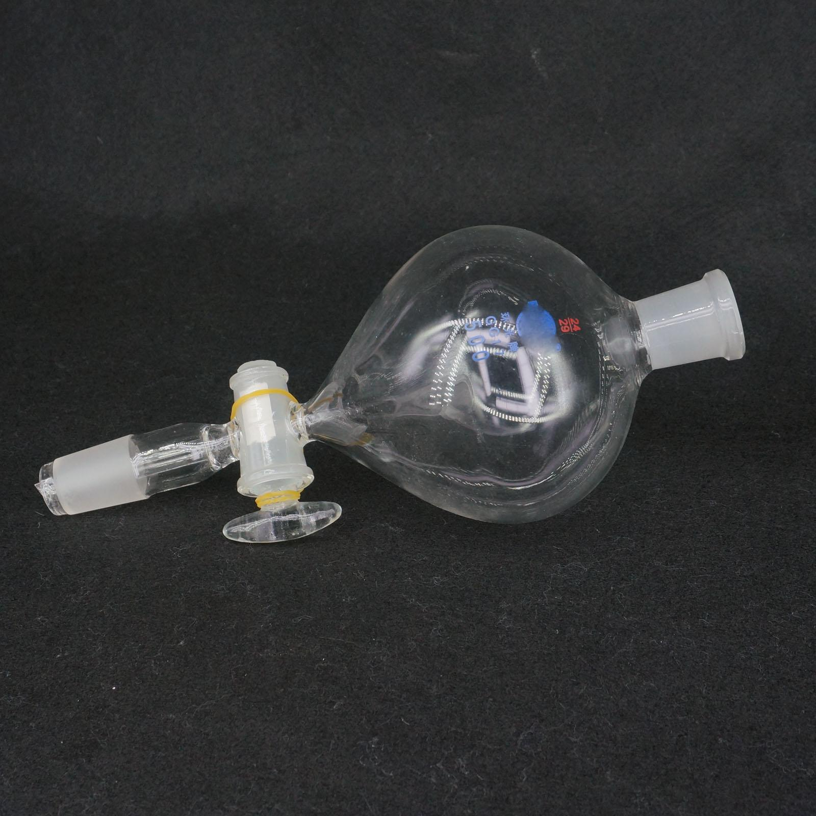 500ml 24/29 Ground Joint Ball Shaped Lab Separatory Funnel With Glass Stopcock500ml 24/29 Ground Joint Ball Shaped Lab Separatory Funnel With Glass Stopcock