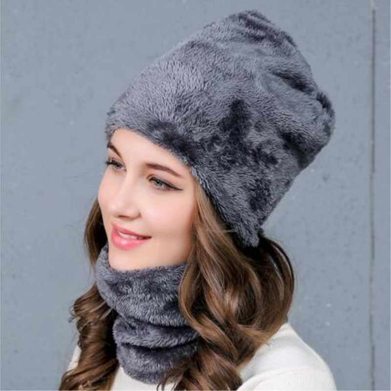 c14bd26a7f58d ... Neck warmer knitted hat scarf set fur Wool Lining Thick Warm Knit  beanies balaclava Winter Hat ...
