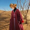 MM085 Nova Chegada do Outono e do Inverno 2016 de grandes dimensões étnicas do vintage tweed casaco mulheres plus size solto longo casaco de lã borla