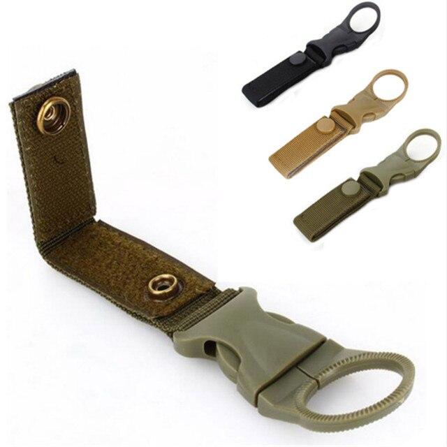 Herramientas al aire libre senderismo militar Nylon correas hebilla gancho agua botella soporte Clip escalada mosquetón cinturón mochila ganchos de suspensión