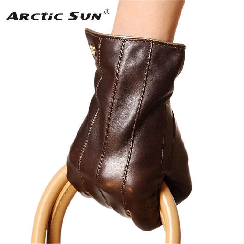 Fashion Women Sheepskin Gloves High Quality Genuine Leather Five Finger Two Tone Elegant Winter Lady Driving
