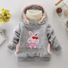 Girls Outerwear Hoodies Children Clothing baby girl Cotton Jacket Tops Kids Cute Cartoon Rabbit Embroidery Coat Toddler Clothes