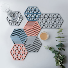 Nordic Dining Table Mat Geometry Hexagon Drink Coaster Cup Hollowing Out Flower Design Kitchen Insulation Pad Bowl Dish Placemat