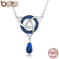 BAMOER Genuine 925 Sterling Silver Infinity Love Round Droplet Zircon Pendant Necklaces Women Sterling Silver Jewelry