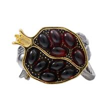 imixlot Vintage Red Zircon Stone Conflict Pomegranate Ring Black Gold Rings for Women Size 6/7/8/9/10 Wedding Jewelry Gift