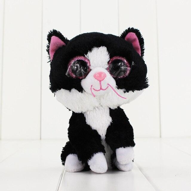948c0bd71bee55 15 cm Ty Beanie Boos Grote Ogen Knuffel Pop Zwarte Kat TY Baby Kids Gift  Collection