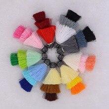Summer color 3 layer Puff skirt silk Tassel Handcrafted jewelry finding pave cz druzy pendant beads rainbow silk  tassel 2131