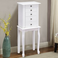 Giantex Jewelry Chest Storage Cabinet Stand Organizer Christmas w/ Mirror White Home Furniture HW56419WH