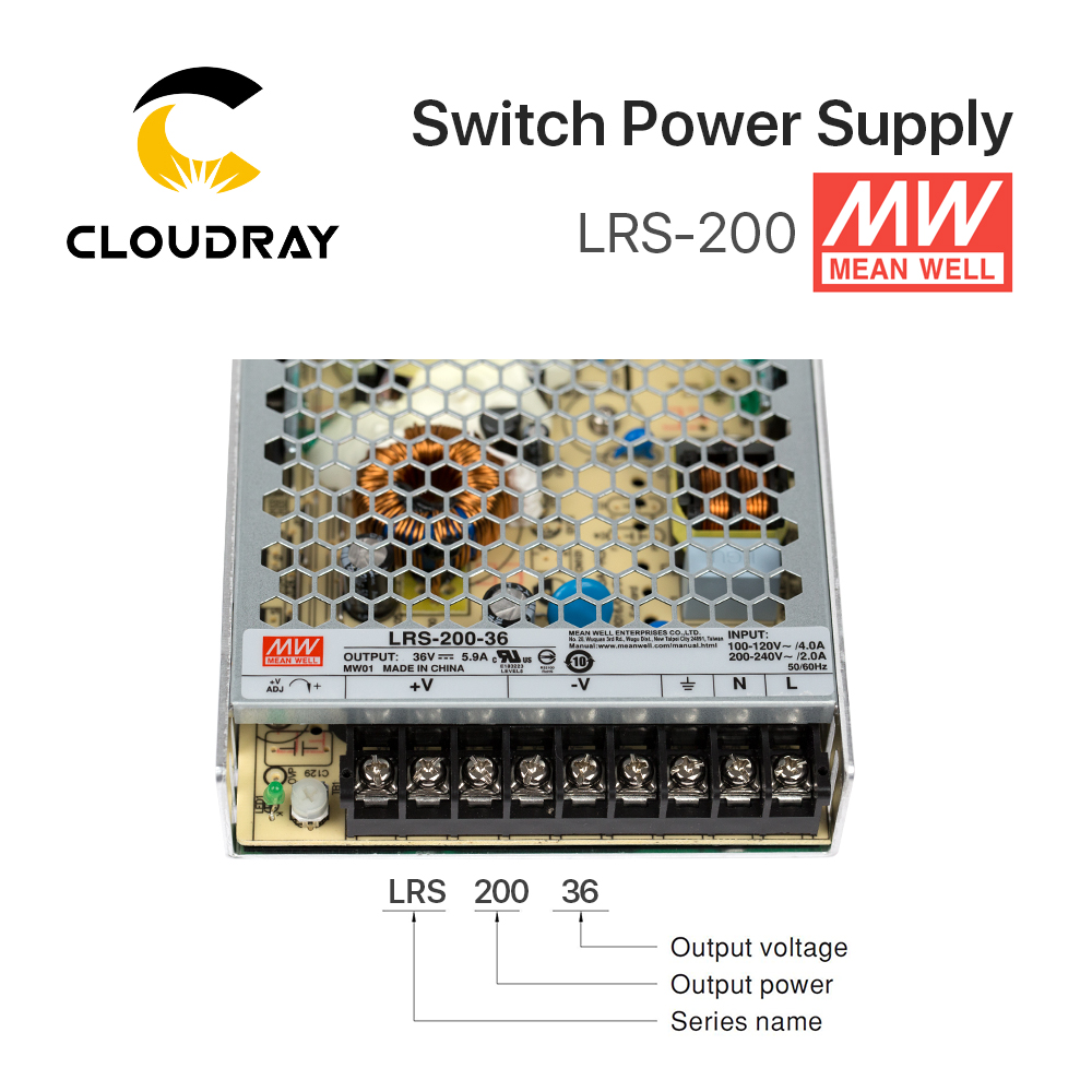 Meanwell LRS-200 Alimentation à découpage 12 v 24 v 36 v 48 v 200 w D'origine MW Taiwan Marque LRS-200-24 - 3