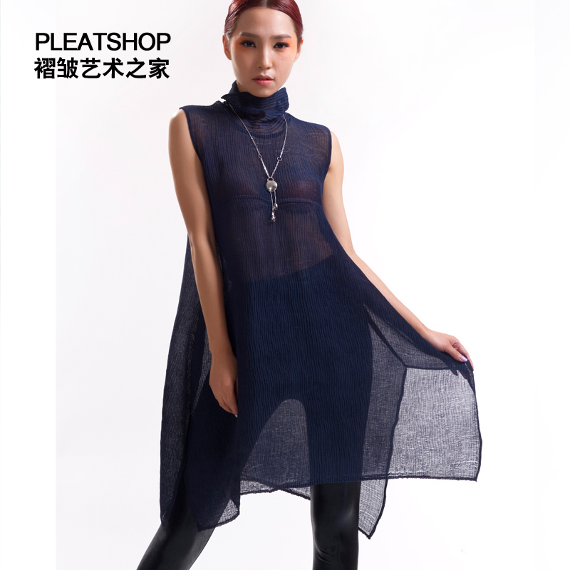 FREE SHIPPING miyake pleated turtleneck sleeveless one piece dress pleated solid color bamboo women's pullover IN STOCK
