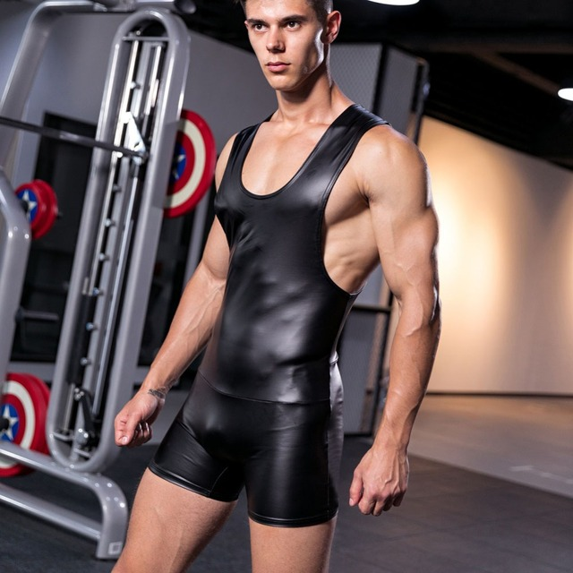Sexy Leather y y Leotard Undershirt Men bodysuit body Man jumpsuit wresting Undershirts tight shaper gay club Dance Party
