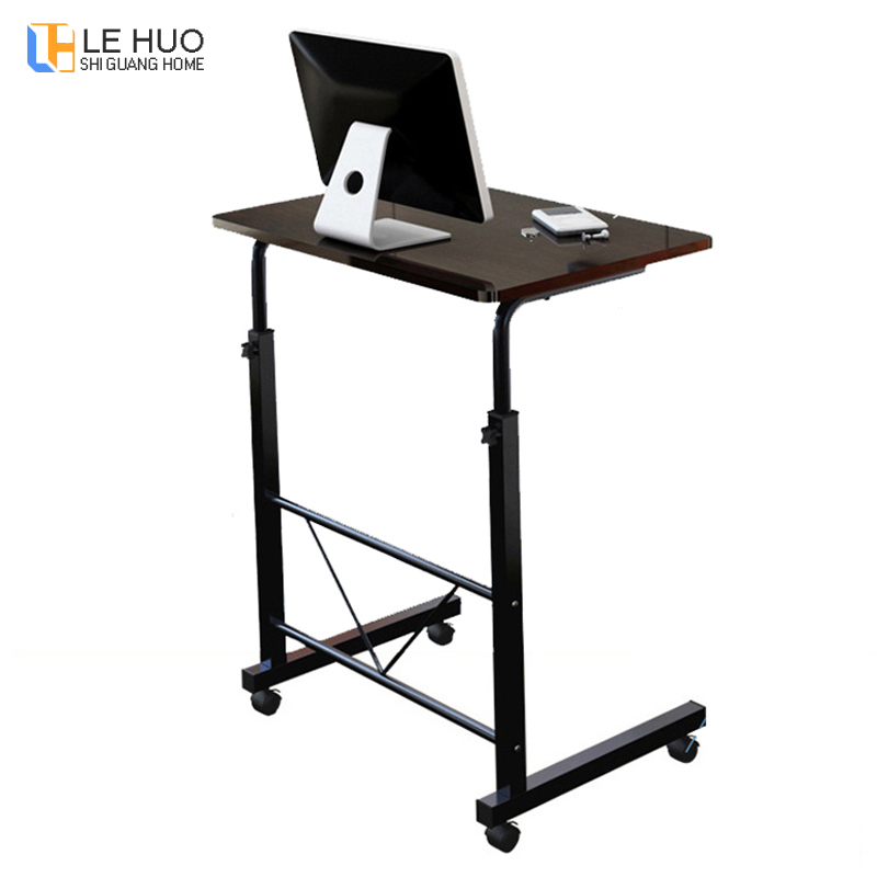 Wooden Standing Laptop Table Home Computer Desk Student Dorm Folding Table Computer Desk Bedside Desk Mobile Table