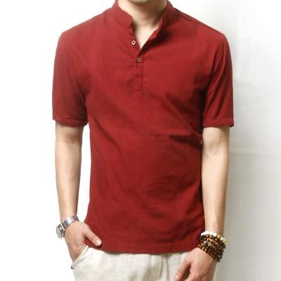 New Fashion Brand Mens Pullover Linen Shirt Men Shirts Short Sleeve Mandarin Collar Mens Shirts KJ023