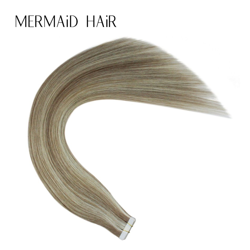Mermaid P8-613 Double Drawn Remy Hair Extensions Tape In 16 18 20 22 Real Human Hair On Tape Seamless Skin Weft THICK