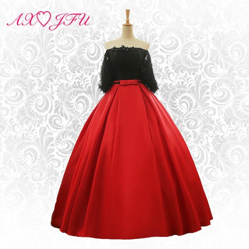 AXJFU abito da sera con fiocco rosso in pizzo abito da sera principessa in pizzo nero fiore rosso abito da sera con fiocco in fiore NY249