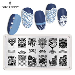 Image 1 - BORN PRETTY Lace Series Nail Stamping Plate Flower Yarn Pattern Rectangle Template Nail Art Stamp Plate