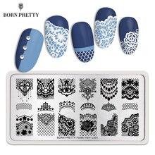 Geboren Pretty Lace Series Nail Stempelen Plaat Bloem Garen Patroon Rechthoek Template Nail Art Stempel Plaat