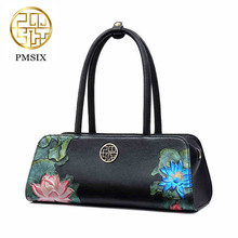 Pmsix Autumn Winter New Women Leather Handbags Embossed Flower Luxury Designer Shoulder Bags Fashion Vintage Tote Bag P110062 pmsix 2017 chinese style designer brand women bags 2016 luxury women s embossed handbag banquet bags deluxe black 120025