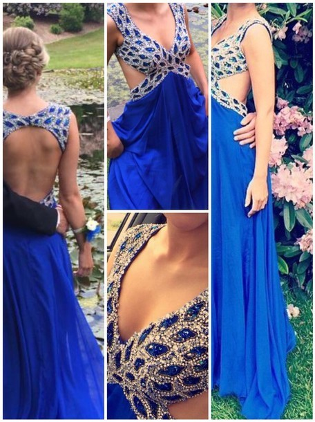 Elegant Sexy   Prom     Dress   A-line V-neck Beading Crystals Backless Draped Floor Length Long Formal   Prom   Party   Dress   Vestidos