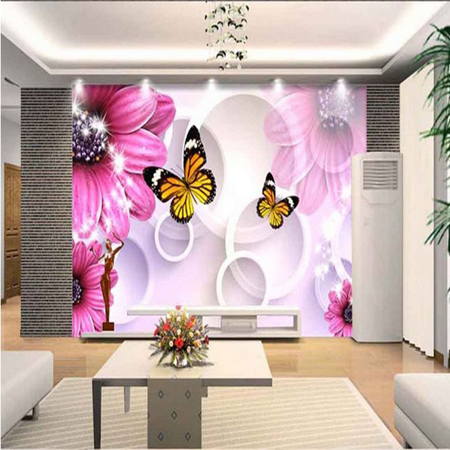 3D Stereoscopic Beautiful Flowers And Butterfly Wallpaper Warm Romantic Modern Decorative Painting TV Background Mural In Wallpapers From Home