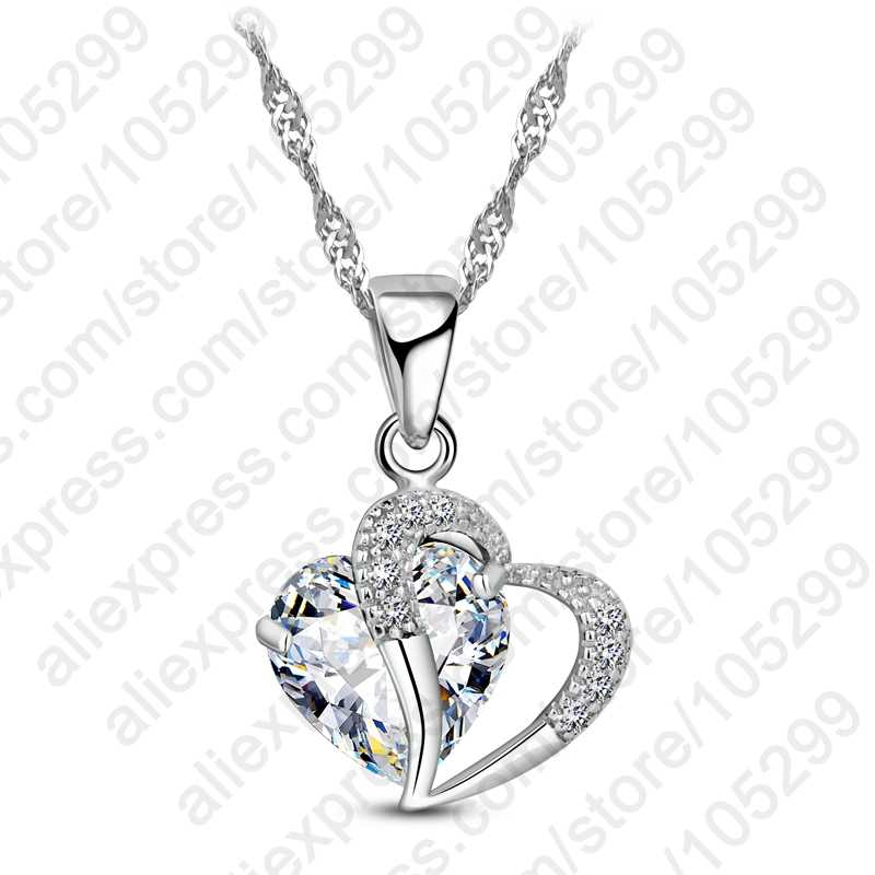 Real White 925 Sterling Silver Cubic Zirconial Brand Love Heart Shape Pendant Necklaces Fashion Jewelry for Women Wedding Bridal