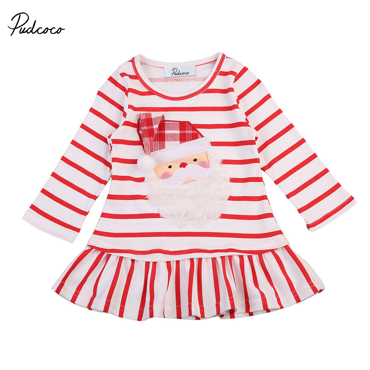 Toddler Newborn Baby Girls Christmas Dress Long Sleeve Striped Patchwork Mini Dress Cute Infant Clothes